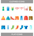 simple set of clothes and shopping flat vector image