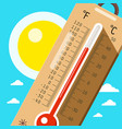 Thermometer with sky and sun hot weather in vector image
