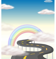 A long winding road going to the rainbow vector image vector image