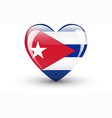 Heart-shaped icon with national flag of Cuba vector image