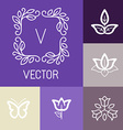 floral logos in outline style vector image vector image