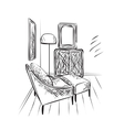 Hand drawn room interior sketch vector image
