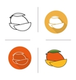 Mango flat design linear and color icons set vector image