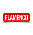 Flamenco red 3d square button isolated on white vector image