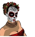 Skull girl with flowers Black and white vector image