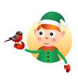 Elf with bullfinch vector image