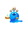 Blue Three-Eyed Toy Monster With Full Birthday vector image