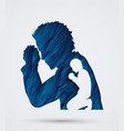 man prayer double exposure graphic vector image