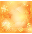 orange christmas background with white snowflakes vector image