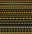 set of borders ornament of gold and precious stone vector image