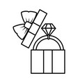 gift box with diamond ring icon vector image