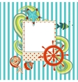 Marine scrapbook with photo frame vector image