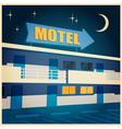 motel at night old poster vector image
