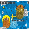Seamless pattern with swedish theme vector image