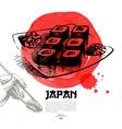 Hand drawn Japanese sushi sketch vector image