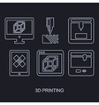 3D Printing icon set showing manufacturing vector image