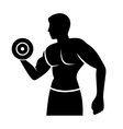 Muscular Man Silhouette Lifting Weights Fitness vector image