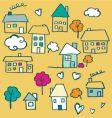 doodle houses vector image