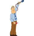 Journalist with microphone cartoon vector image vector image