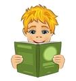 surprised little boy reading interesting book vector image