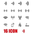 grey wireless icon set vector image