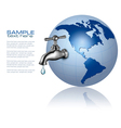 Earth globe with water tap and drop vector image