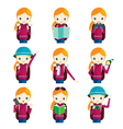 Girl traveling actions set vector image