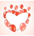 Greeting card with pink and red glossy balloons vector image