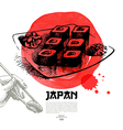 Hand drawn Japanese sushi sketch vector image