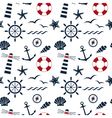 nautical seamless pattern white vector image