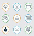 set of 9 web icons includes account blog page vector image
