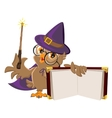 Owl bird in Halloween costume holding open book vector image