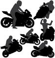 Motorcycle Rider Silhouettes vector image