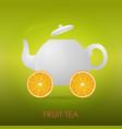 abstract fruit tea teapot orange slices vector image