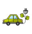 car transportation with power cable and leaves vector image vector image