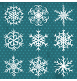 hand made snowflakes on blue background vector image