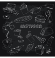 Fastfood collectionon chalkboard vector image