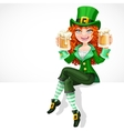 Beautiful red-haired girl leprechaun sitting on vector image vector image