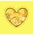 Yellow painted peacock feathers heart design Love vector image