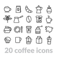 collection of coffee line icons vector image