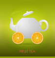 abstract fruit tea teapot orange slices vector image