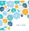 Blue and yellow flower silhouettes corner decor vector image