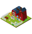 farmer and cows on the farm in 3d design vector image