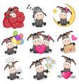 set of cute cartoon donkey vector image