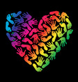 imprint of children s palms and feet heart vector image