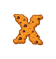 x letter cookies cookie font oatmeal biscuit vector image