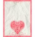 big pink heart over beige background vector image