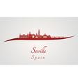 Seville skyline in red vector image