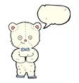 cartoon cute little bear with speech bubble vector image