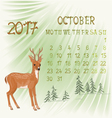 Calendar October 2017 and young deer vector image